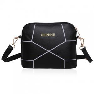 PU Leather Geometric Print Crossbody Bag - Black - 40