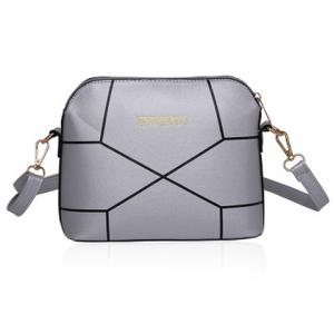 PU Leather Geometric Print Crossbody Bag - Silver - 43