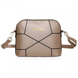 PU Leather Geometric Print Crossbody Bag - Golden