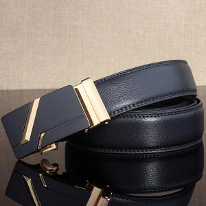 Simple Embellished Paralleled Line Automatic Buckle Wide Belt -