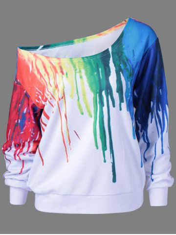 Trendy Paint Drip Skew Collar Sweatshirt WHITE 5XL