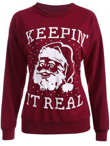 Cheap Streetwear Christmas Santa Claus Head Sweatshirt WINE RED XL