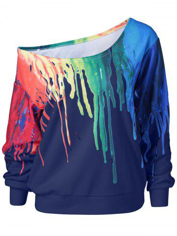 Trendy Paint Drip Skew Collar Sweatshirt