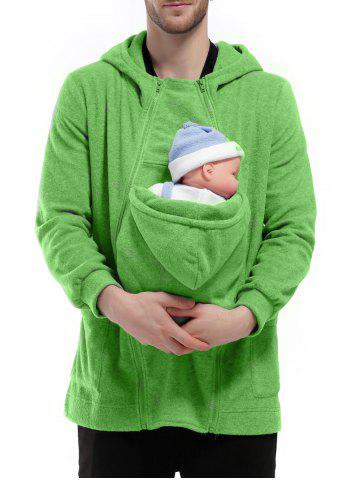 Outfit Double Zippers Detachable Pocket Baby Carrier Hoodie GREEN L