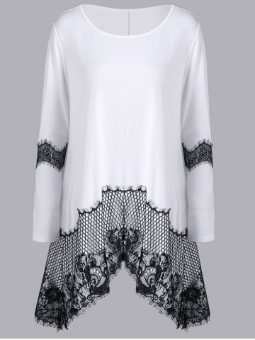 Trendy Lace Insert Long Sleeve Asymmetrical T-Shirt WHITE M