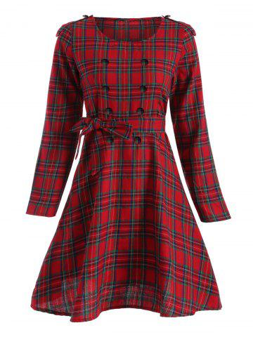 Shop Tartan Plaid Long Sleeve A Line Modest Dress RED 2XL