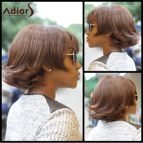 Cheap Classic Dark Brown Synthetic Fluffy Wave Bob Style Short Wig For Women DEEP BROWN