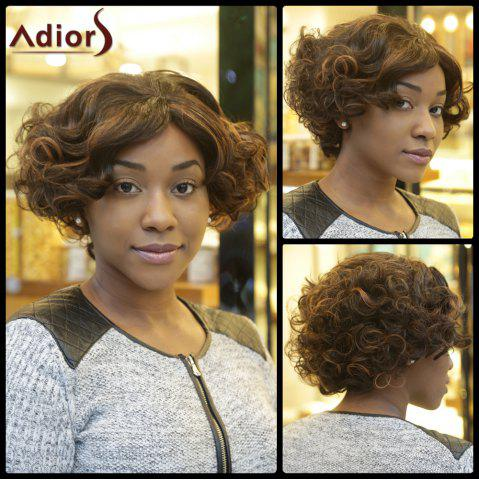 Chic Faddish Double Color Fluffy Short Afro Curly Synthetic Capless Wig COLORMIX