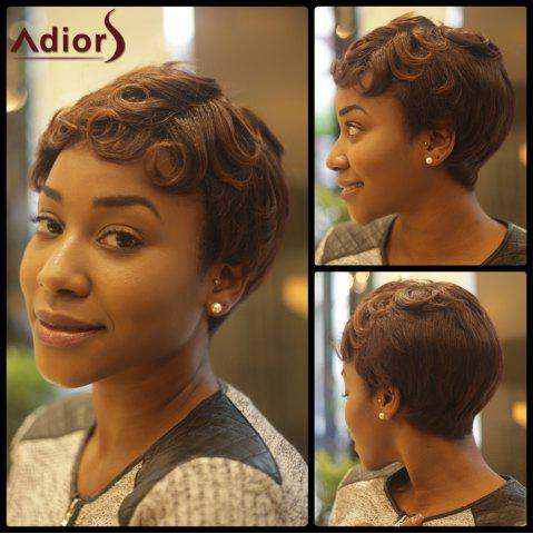 New Short Fluffy Curly Inclined Bang Synthetic Wig COLORMIX