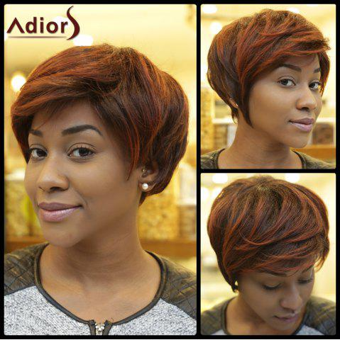 Buy Short Fluffy Straight Inclined Bang Double Color Synthetic Wig COLORMIX