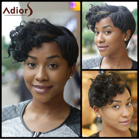 Unique Ultrashort Curly Oblique Bang Pixie Cut Synthetic Wig COLORMIX