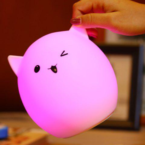 Silica Gel Pig USB Charging LED Ombre Night Light - White