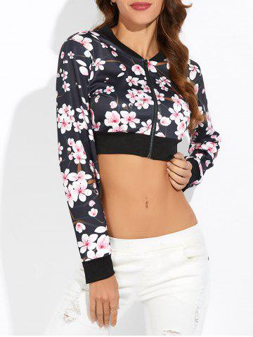 Affordable Floral Zip Up Cropped Sweatshirt