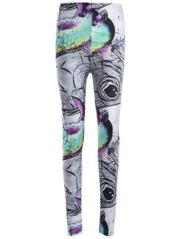 Best Skinny Fish Print Leggings GRAY XL