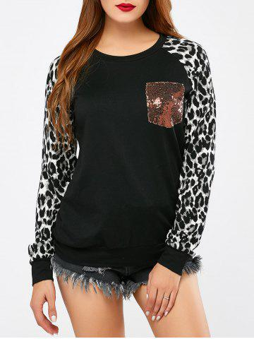 Shops Sequined Pocket Leopard Sleeve Sweatshirt