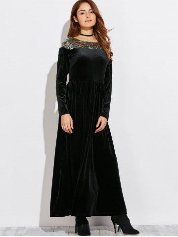 Best Velvet Formal A Line Evening Maxi Dress with Sleeves BLACK XL
