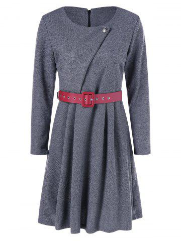 Shops Belted Knee Length Pleated Dress