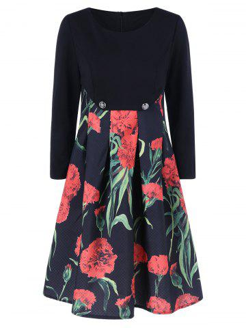 Cheap Fit and Flare Floral Patterned Dress
