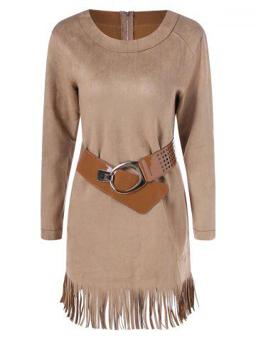 Cheap Long Sleeve Sueded Fringe Belted Dress