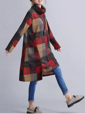 Vintage Plaid Loose Dress - Gray - L