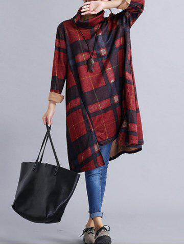 Turtleneck Plaid Oversized Shift Dress