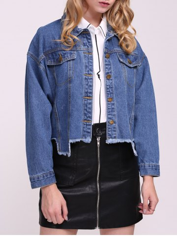 Shops Frayed Hem Denim Jacket