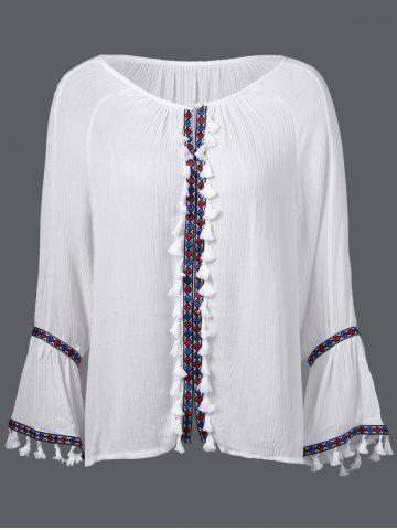Unique Bell Sleeve Tassels Peasant Blouse
