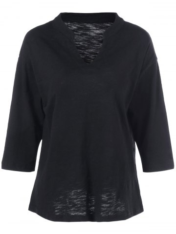 Affordable Batwing Sleeve Plus Size Tee BLACK 5XL