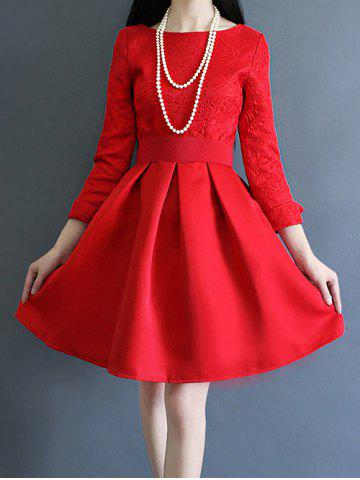 Outfits Ruched Jacquard Ball Dress RED XL