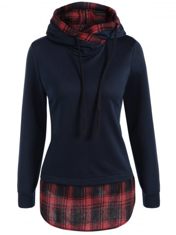 Store Plaid Splicing Drawstring Hoodie