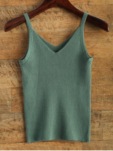 Cheap V Neck Knitted Tank Top
