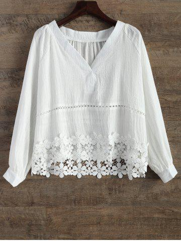 Hot V Neck Lacing Spliced Hollow Out Blouse