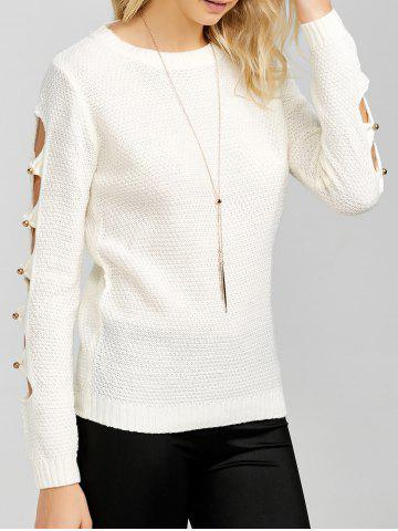 Fashion Hollowed Out Beads Embellished Sweater
