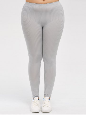 Shop Plus Size Solid Color Skinny Leggings GRAY 5XL