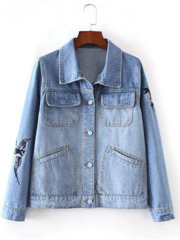 Trendy Bleach Wash Bird Embroidery Denim Jacket