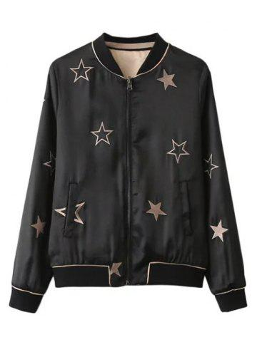 New Star Embroidered Convertible Thin Bomber Jacket BLACK L