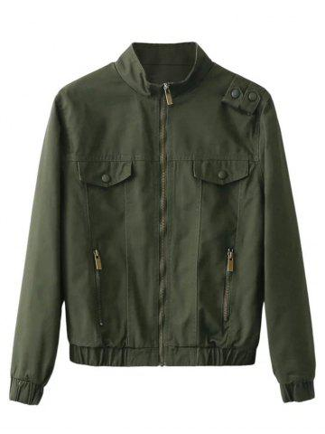 Outfit Fit Pocket Design Bomber Jacket ARMY GREEN XL