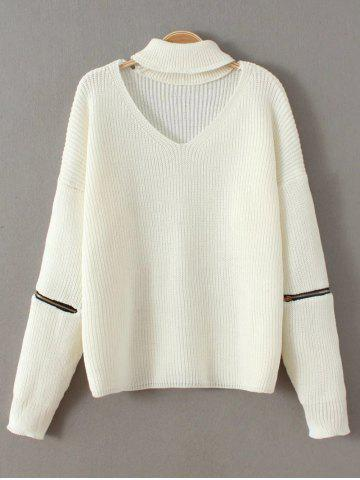 Cheap Choker Neck Plain Sweater