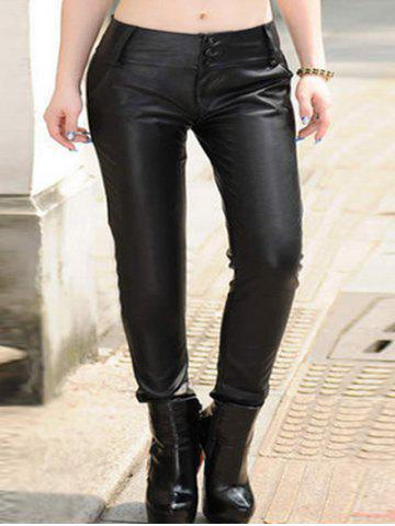 Fancy Plus Size Button Up Faux Leather Pants