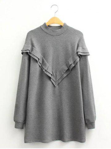 Store Casual Flounce Long Sleeve Mini Sweatshirt Dress GRAY L