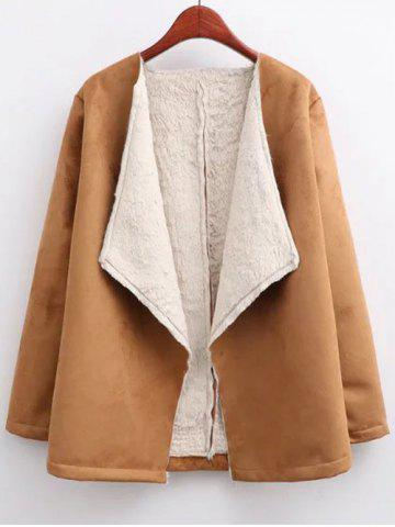 Outfits Open Front Long Shearling Coat BROWN L