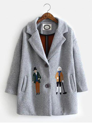 Unique Cartoon Embroidery Long Wool Coat