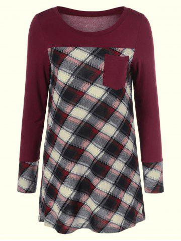 Fashion Plaid Patchwork One Pocket Tee BURGUNDY M