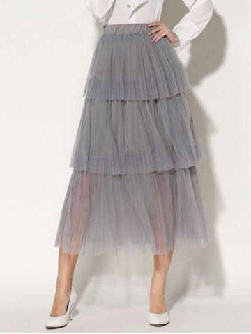 Pleated Layered Tulle Skirt - GRAY ONE SIZE