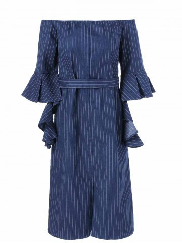 Outfit Asymmetrical Sleeve Striped Off The Shoulder Dress