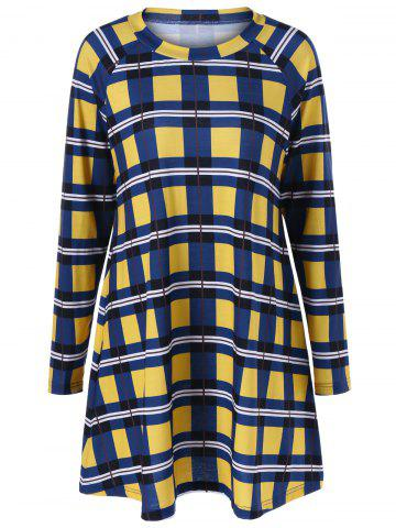 Cheap Elbow Patch Checked Dress