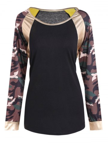 New Camo Print Faux Leather Panel T-Shirt BLACK 2XL