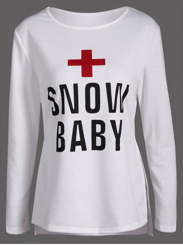 Outfits Cross Snow Baby Print Side Slit Tee OFF WHITE XL