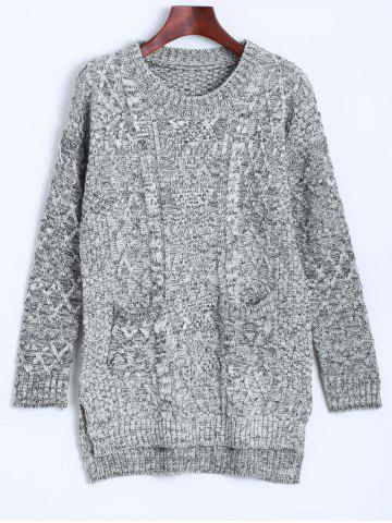 Cable Knit Asymmetrical Heathered Sweater - Gray - One Size