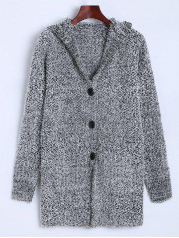 Chic Hooded Buttoned Fuzzy Knit Cardigan